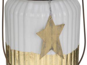 lampion biało złoty