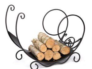 metalowy kosz ozdobny na drewno