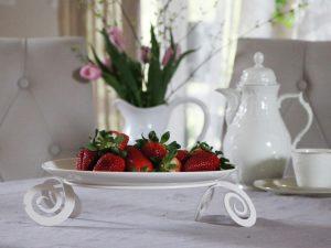patera talerz ozdobny biały