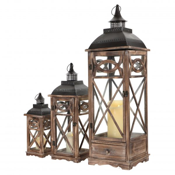 komplet latarni drewnianych kolor brązowy przecierany