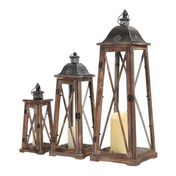 komplet latarni drewnianych kolor brązowy