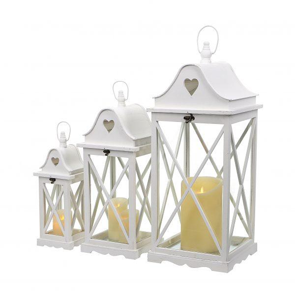 komplet latarni drewnianych kolor biały