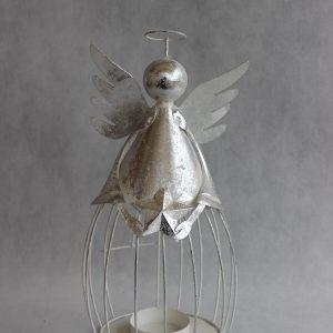 Metalowy aniołek grubasek, świecznik-lampion ozdoba bożonarodzeniowa 45 cm