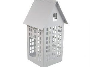 domek lampion metalowy kolor biały