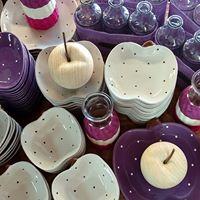 Ceramiczny talerzyk w kształcie jabłka kolor beżowy