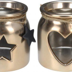 Świecznik na małe świeczki tealighty kolor złoty