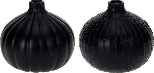 Ceramiczny czarny wazonik pękaty