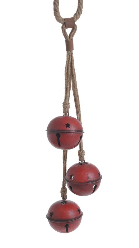 Metalowe czerwone dzwonki dekoracja świąteczna 40cm.