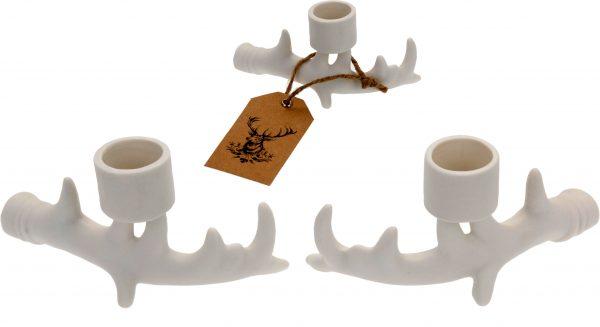Biały porcelanowy świecznik róg renifera ozdoba bożonarodzeniowa