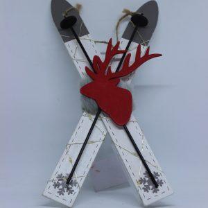 Świecące narty dekoracja na Boże Narodzenie wys 27 cm