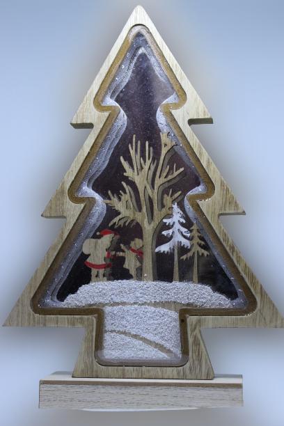 Drewniana choinka dekoracja bożonarodzeniowa efekt 3D 32 cm