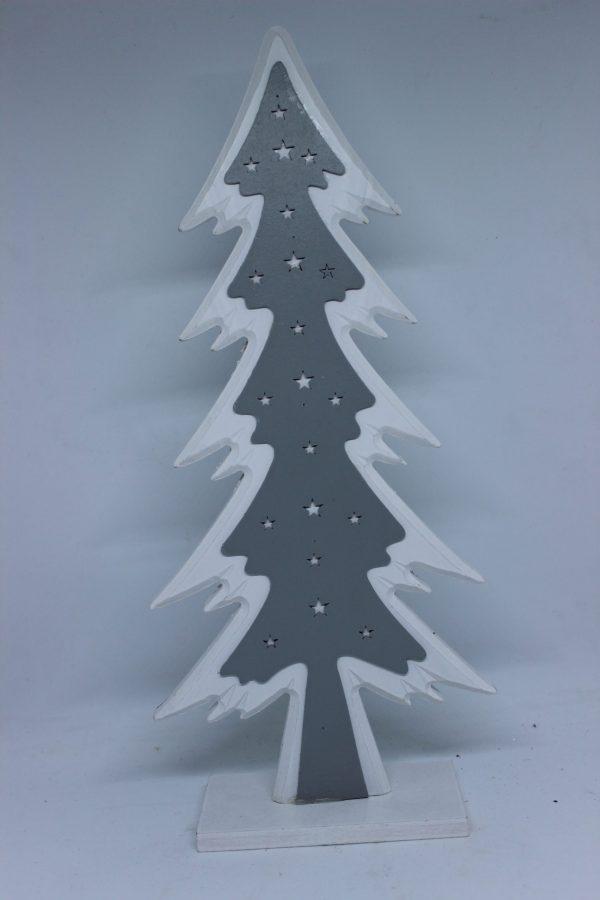 Drewniana Choinka Biało Szara Duża 35,5 cm