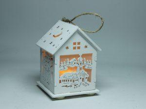 Domek świecący led na baterie drewniany dekoracja ozdoba 9 cm