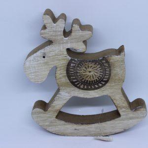 Drewniany renifer na biegunach 19,5cm.