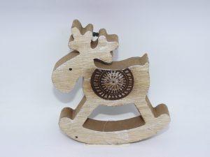 Drewniany renifer na biegunach 14,5cm.