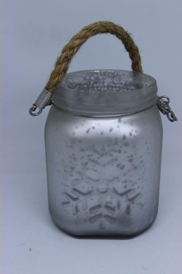 Świecznik-lampion szklany świąteczny srebrny