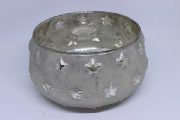 Świecznik-lampion szklany świąteczny złoty