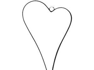 Metalowe asymetryczne serce czarne-obręcz wys 42 cm