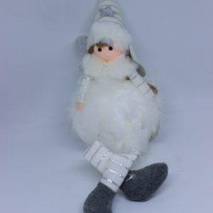 Piękny biały aniołek z piórkami 40 cm