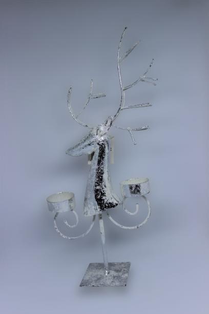 Renifer metalowy świecznik na tealighty 37 cm dekoracja bożonarodzeniowa
