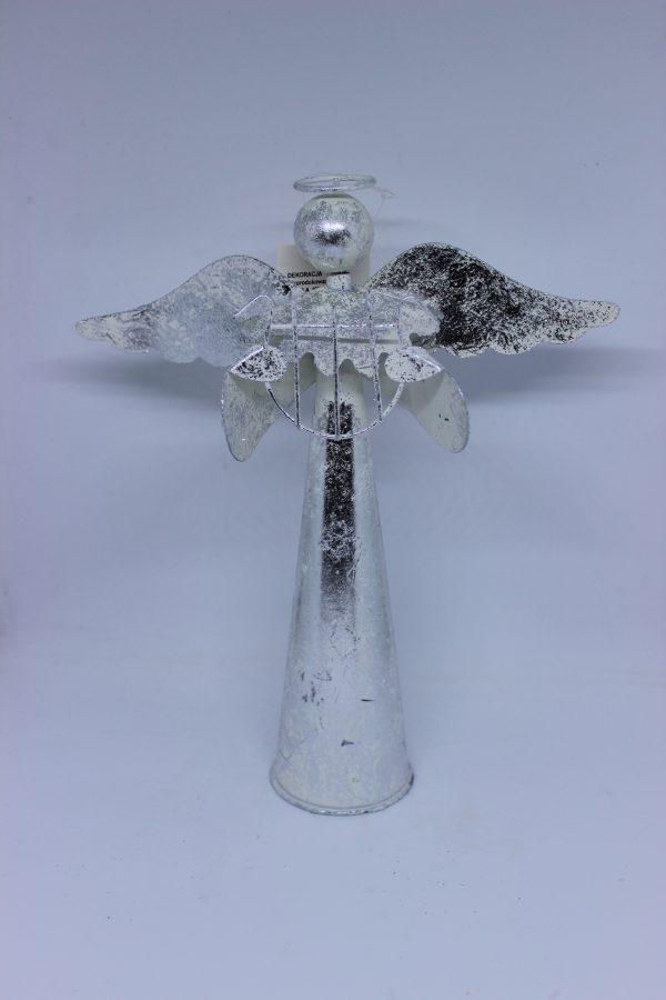 Figurka Anioła wykonana z metalu dekoracja bożonarodzeniowa wys 26