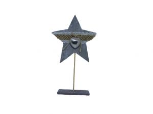 Drewniana gwiazda w kolorze szarym wys 30 cm
