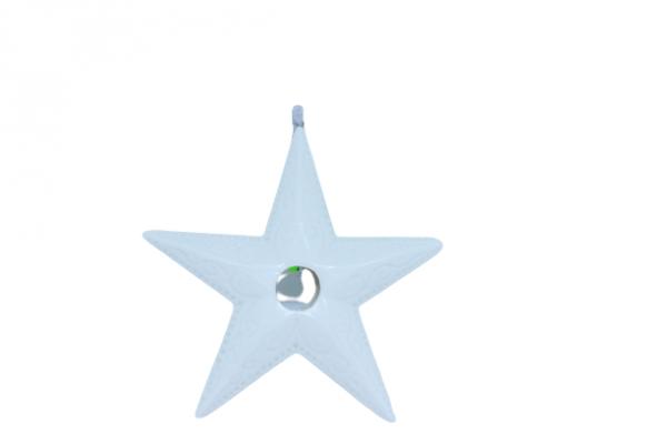 Gwiazda ceramiczna biała do zawieszenia ozdoba bożonarodzeniowa