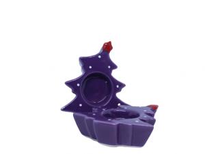 Fioletowy porcelanowy świecznik choinka ozdoba bożonarodzeniowa
