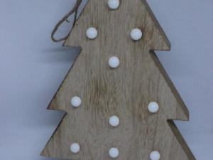 Drewniana choinka dekoracja bożonarodzeniowa , z oświetleniem LED 30cm