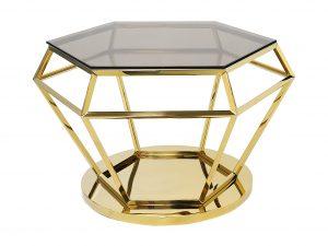 Stolik kawowy diament duży GLAMOUR złoty wys 50 cm