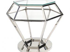 Stolik kawowy diament mały GLAMOUR srebrny wys 55,5 cm