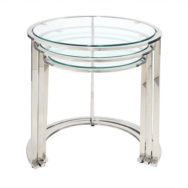 Komplet trzech okrągłych stolików GLAMOUR srebrnych