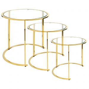 Komplet trzech okrągłych stolików GLAMOUR złotych
