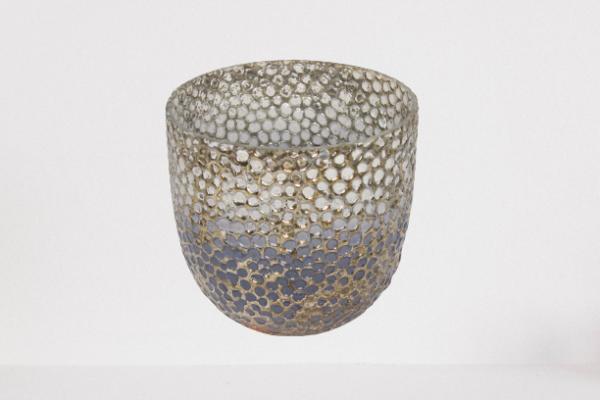 Lampion, świecznik szklany strukturalny