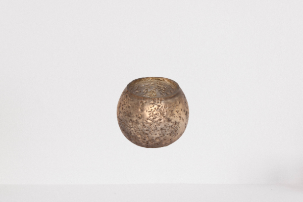 Lampion, świecznik szklany przecierany kolor SZAMPAŃSKI BRĄZ