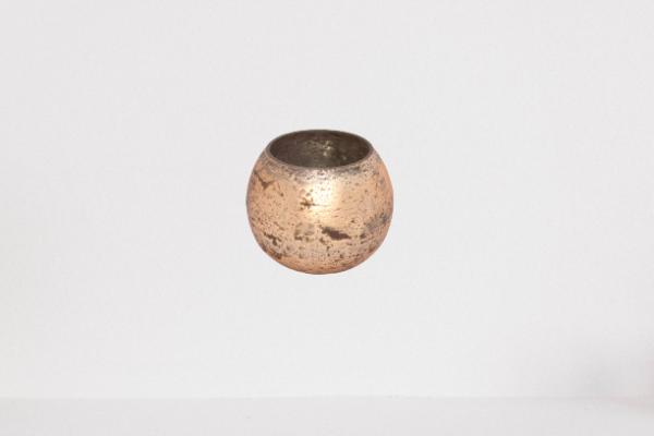 Lampion, świecznik szklany przecierany kolor PEACH FOIL