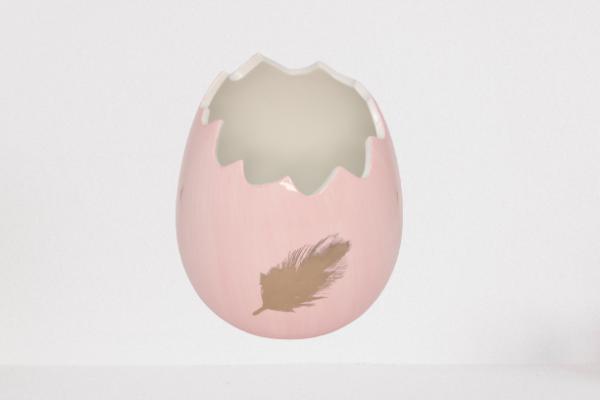 Donica, osłonka w kształcie skorupki jajka kolor różowy wys 16 cm