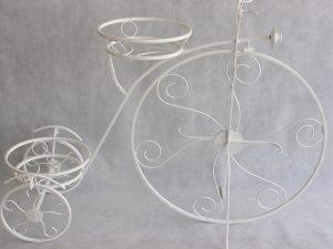 Kwietnik rower metalowy kolor biały wys 83 cm