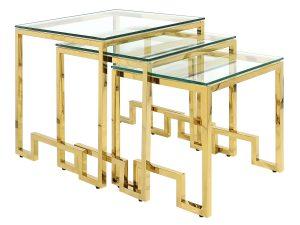 Komplet trzech stolików kolor złoty GLAMUR
