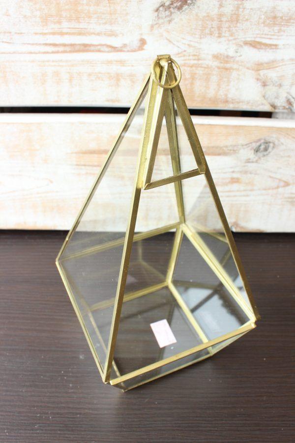 lampion diament kolor złoty wys 26 cm