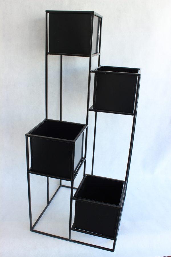 Kwietnik stojący metalowy z 4 donicami czarny LOFT